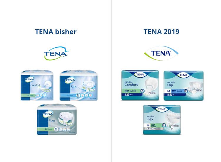 TENA Logo und Verpackungsdesing - Vergleich bisher und 2019